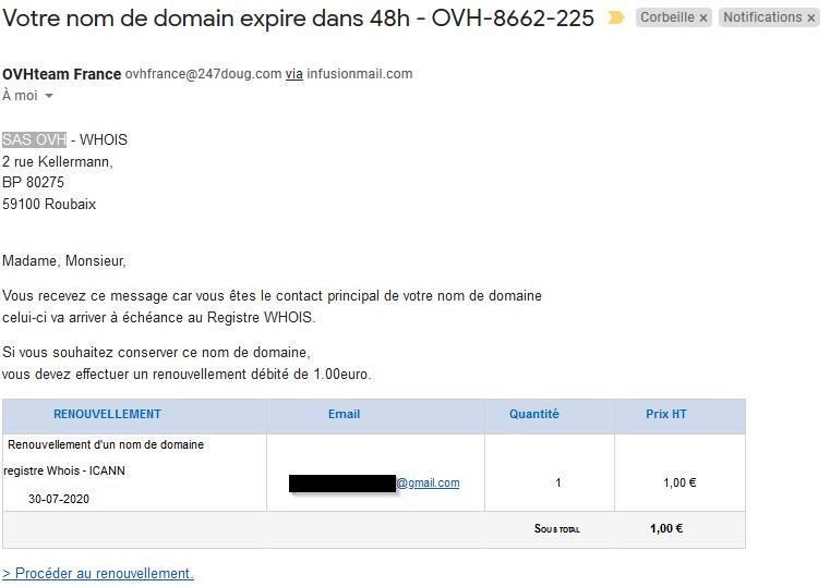 Email frauduleux