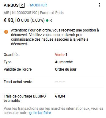 Confirmation de vente à découvert AIRBUS