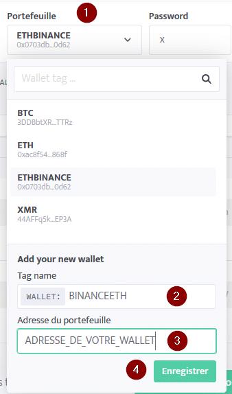 Minage de cryptomonnaie - Paramétrage wallet ETH binance