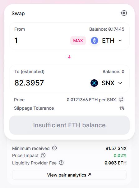 Finance décentralisée - 1 ETH vs SNX Uniswap
