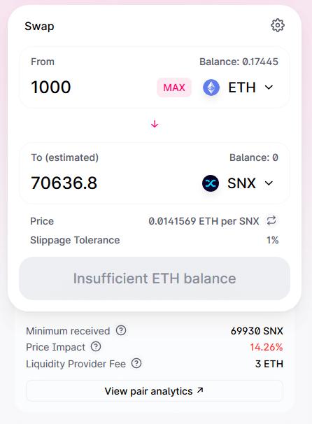 Finance décentralisée - 1000 ETH vs SNX Uniswap