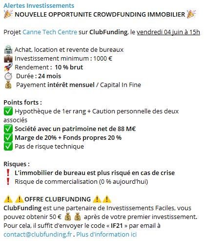 Exemple channel Telegram - Crowdfunding Mai 2021