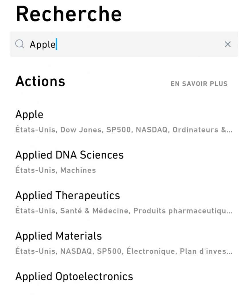 Trade Republic - Recherche action Apple